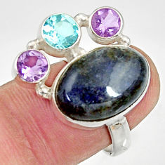 Clearance Sale- 13.36cts natural blue labradorite amethyst topaz 925 silver ring size 6.5 d35522