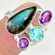 Clearance Sale- 12.31cts natural blue labradorite amethyst topaz 925 silver ring size 8 d35523