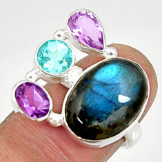 Clearance Sale- 925 silver 13.79cts natural blue labradorite amethyst topaz ring size 7 d35524