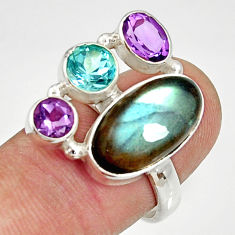 Clearance Sale- 925 silver 11.71cts natural blue labradorite amethyst topaz ring size 8 d35526
