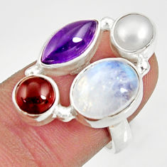 Clearance Sale- 12.69cts natural rainbow moonstone amethyst pearl 925 silver ring size 7 d35528