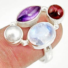 13.36cts natural rainbow moonstone amethyst pearl 925 silver ring size 8 d35529