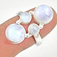 Clearance Sale- 925 sterling silver 10.23cts natural rainbow moonstone ring size 7.5 d35530