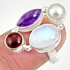 Clearance Sale- 925 silver 12.71cts natural rainbow moonstone amethyst pearl ring size 7 d35532