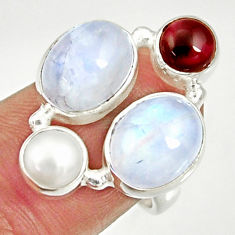 925 silver 11.95cts natural rainbow moonstone garnet pearl ring size 6.5 d35533