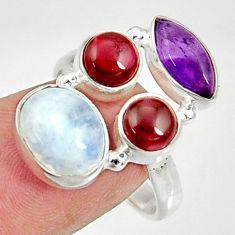 925 silver 11.02cts natural rainbow moonstone amethyst garnet ring size 8 d35538