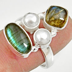 Clearance Sale- 7.51cts natural blue labradorite pearl 925 sterling silver ring size 7 d35545