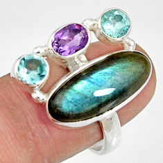 Clearance Sale- 925 silver 14.41cts natural blue labradorite amethyst topaz ring size 8 d35547