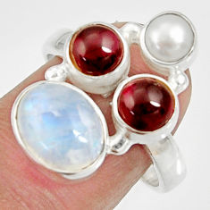 7.34cts natural rainbow moonstone garnet pearl 925 silver ring size 7.5 d35552