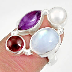 Clearance Sale- 10.70cts natural rainbow moonstone amethyst pearl silver ring size 6.5 d35554