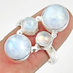 Clearance Sale- 925 sterling silver 10.04cts natural rainbow moonstone round ring size 8 d35555