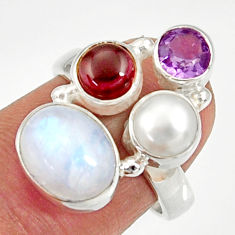 Clearance Sale- 7.51cts natural rainbow moonstone amethyst pearl 925 silver ring size 6.5 d35557