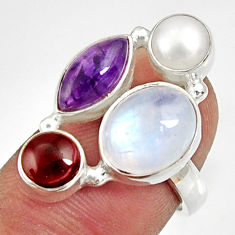 Clearance Sale- 11.02cts natural rainbow moonstone amethyst pearl silver ring size 6.5 d35560