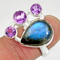 Clearance Sale- 12.34cts natural blue labradorite amethyst 925 silver ring size 6.5 d35569