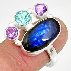 Clearance Sale- 11.00cts natural blue labradorite amethyst topaz 925 silver ring size 8 d35570