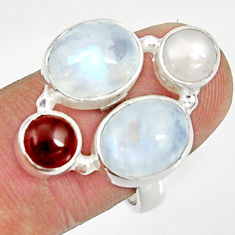 Clearance Sale- 925 sterling silver 11.62cts natural rainbow moonstone garnet ring size 8 d35575