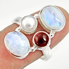 Clearance Sale- 11.25cts natural rainbow moonstone garnet 925 silver ring size 8.5 d35578