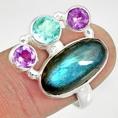 Clearance Sale- 10.04cts natural blue labradorite amethyst topaz 925 silver ring size 8 d35581