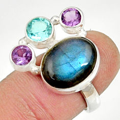 Clearance Sale- 9.70cts natural blue labradorite amethyst topaz 925 silver ring size 6.5 d35582