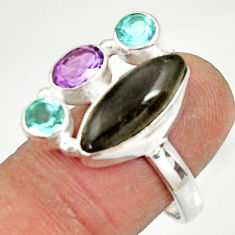 925 silver 10.02cts natural blue labradorite amethyst topaz ring size 8.5 d35584