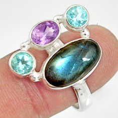 Clearance Sale- 925 silver 9.70cts natural blue labradorite amethyst topaz ring size 8.5 d35588