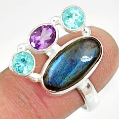Clearance Sale- 10.37cts natural blue labradorite amethyst topaz 925 silver ring size 8 d35589