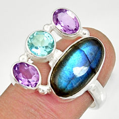 Clearance Sale- 10.33cts natural blue labradorite amethyst topaz 925 silver ring size 7.5 d35590