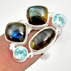 Clearance Sale- 13.22cts natural blue labradorite topaz 925 sterling silver ring size 7 d35591