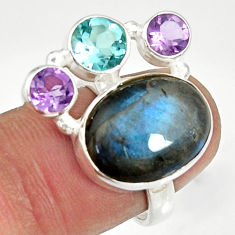 Clearance Sale- 11.23cts natural blue labradorite amethyst topaz 925 silver ring size 6.5 d35592