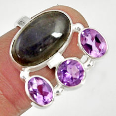 10.30cts natural blue labradorite purple amethyst 925 silver ring size 7 d35594