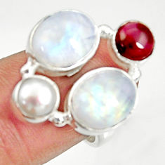 925 silver 10.54cts natural rainbow moonstone garnet pearl ring size 7 d35598