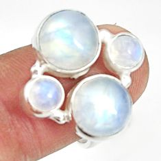 Clearance Sale- 10.70cts natural rainbow moonstone 925 sterling silver ring size 7.5 d35599