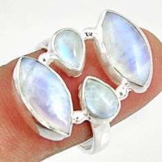 Clearance Sale- 925 sterling silver 16.06cts natural rainbow moonstone ring size 8.5 d35600
