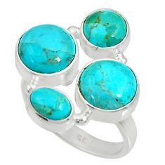 12.40cts green arizona mohave turquoise 925 sterling silver ring size 8 d35602