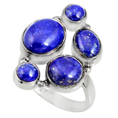 Clearance Sale- 925 sterling silver 13.07cts natural blue lapis lazuli ring size 8 d35614