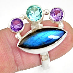 Clearance Sale- 925 silver 11.89cts natural blue labradorite amethyst topaz ring size 7.5 d35617