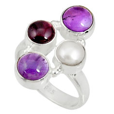Clearance Sale- 6.89cts natural purple amethyst garnet pearl 925 silver ring size 6.5 d35622