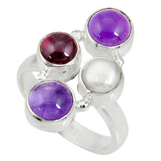 Clearance Sale- 6.62cts natural purple amethyst red garnet pearl 925 silver ring size 7 d35623