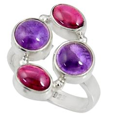 Clearance Sale- 7.66cts natural purple amethyst red garnet 925 silver ring size 7 d35641