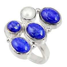 Clearance Sale- 7.73cts natural blue lapis lazuli white pearl 925 silver ring size 7.5 d35642