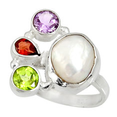 Clearance Sale- 10.30cts natural white biwa pearl amethyst garnet silver ring size 8.5 d35644