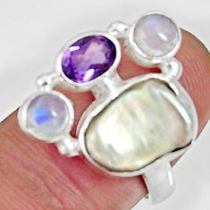 9.63cts natural white biwa pearl moonstone amethyst silver ring size 7.5 d35645