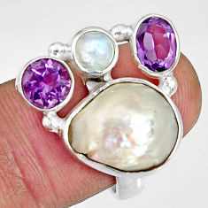 Clearance Sale- 11.62cts natural biwa pearl moonstone amethyst 925 silver ring size 8 d35646