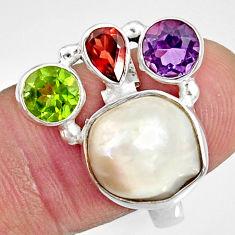 Clearance Sale- 925 silver 10.54cts natural white biwa pearl peridot garnet ring size 8 d35648