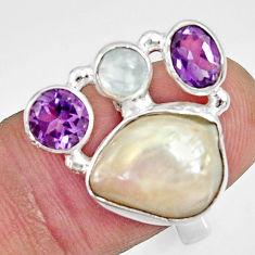 10.99cts natural white biwa pearl moonstone 925 silver ring size 7 d35649