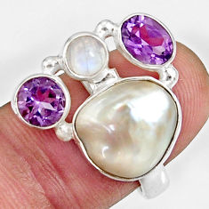 Clearance Sale- 10.94cts natural white biwa pearl moonstone 925 silver ring size 7 d35651