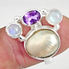 925 silver 10.02cts natural white biwa pearl moonstone ring size 6.5 d35653