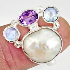 Clearance Sale- 10.89cts natural white biwa pearl moonstone 925 silver ring size 6.5 d35655