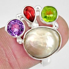 Clearance Sale- 10.04cts natural white biwa pearl peridot garnet 925 silver ring size 7 d35656