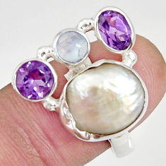 10.89cts natural white biwa pearl moonstone 925 silver ring size 8 d35658